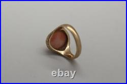 Antique Victorian 10k Gold, Hand Carved Angel Hair Coral Cameo Ring With Etching