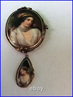 Antique Victorian 10k Gold Hand Painted Portrait Pin Double Dangling Portraits