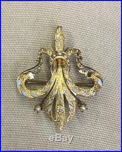 Antique Victorian 10k Yellow Gold Hand Enamel Seed Pearl Pin Brooch Pendant 2.5g