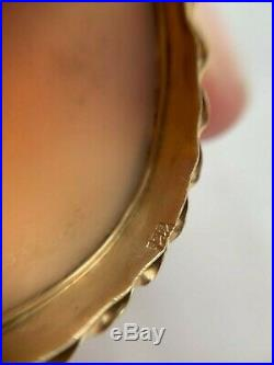 Antique Victorian 14K Gold & Hand Carved Shell Cameo Brooch Pin Pendant C. 1900