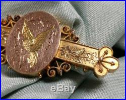 Antique Victorian 14K Gold Hand Etched Floral Bird Filigree Pin Brooch