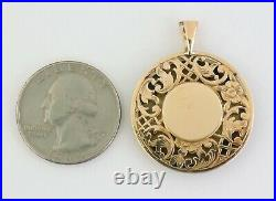 Antique Victorian 14K Gold Hand Painted Fairy Miniature Guilloche Enamel Pendant