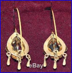 Antique Victorian 14K Gold Silver Turquoise Pearls Hand Made 3D Bird Earrings