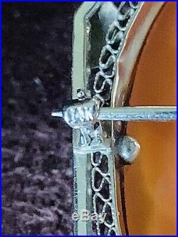 Antique Victorian 14K Hand-Carved Carnelian Shell Diamond Cameo Brooch Pendant