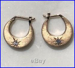 Antique Victorian 14K Rose Gold Diamond Earrings Mini Hoop Hand-Stenciled Star