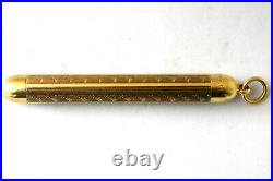 Antique Victorian 14K Solid Gold Hand Carved Pencil Signed W S Monogrammed