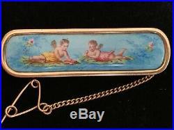 Antique/Victorian 14K gold Hand Painted enamel cherubs/putti scene brooch
