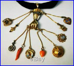 Antique Victorian 14k Gold Diamond Hand Mano Cornuto Evil Eye Pendant Charm HUGE