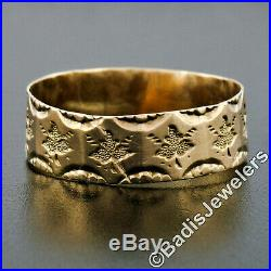 Antique Victorian 14k Gold Hand Etched Leaf Wide Thin Eternity Wedding Band Ring