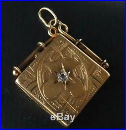 Antique Victorian 14k Gold Old Mine Diamond Locket Fob Charm Hand Etched Square