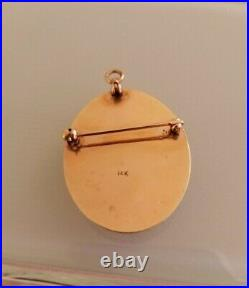 Antique Victorian 14k Gold & Pearl pendant hand painted lady portrait with rose