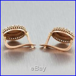 Antique Victorian 14k Rose Gold Seed Pearl Hand Painted Enamel Lady Earrings