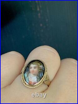 Antique, Victorian 14k Yellow Gold hand-painted on porcelain Portrait Ring