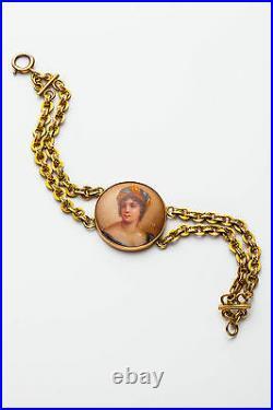 Antique Victorian 1800s Hand Painted CAMEO Portrait 14k Solid Gold Bracelet