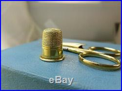 Antique Victorian 1860s E. H. 14k Solid Gold Sewing Kit Hand Carved Case Beauty