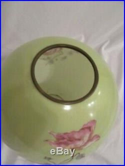 Antique Victorian 1870 1900 Hand painted Rose Ball Oil lamp shade