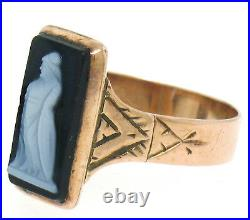 Antique Victorian 1880 Solid 14k Rose Gold Hand Engraved Agate Cameo Etched Ring