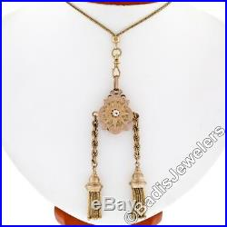 Antique Victorian 18K Gold Old Mine Diamond Hand Etched Tassel Pendant 36 Chain