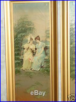 Antique Victorian 1/2 Yardlong Hand Panted Painting Print On Canvas Lady Pr