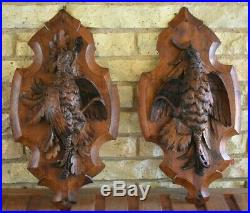Antique Victorian 20 Pair Black Forest Hand Carved Wood Game Bird Hunt Plaques