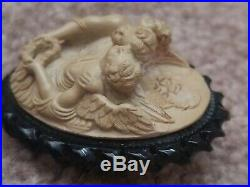 Antique Victorian 3 Angels hand carved lava gutta percha cameo 3D brooch pin