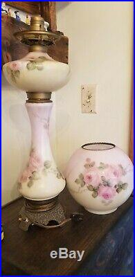 Antique Victorian 3 tier Gone with the Wind Oil Banquet Lamp Hand Painted Roses