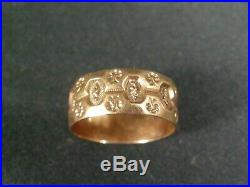 Antique Victorian 8 mm Wide 14K Solid Gold Cigar Band Ring Hand Stamped sz. 8