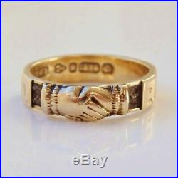 Antique Victorian 9ct Gold Fede REGARD Ring Clasped Hands & Hair Panels c1881