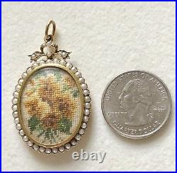 Antique Victorian 9ct Yellow Gold Hand-Sewn Pearl Mourning Locket Pendant MINT