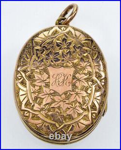 Antique Victorian 9k Gold Enamel Locket Pendant Hand With Basket Of Flowers