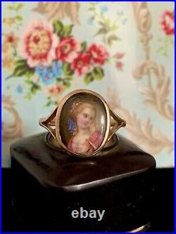 Antique, Victorian 9k Rose Gold hand-painted on porcelain Portrait Ring/us9.5