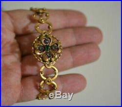 Antique Victorian Art Deco hand engraved gold plated bracelet with oriqinal box
