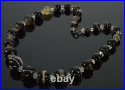 Antique Victorian Banded Agate Hand Cut Bead Necklace/choker Sterling Clasp 2