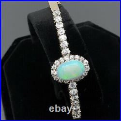 Antique Victorian Bangle Opal and Diamonds set in hand crafted gold bracelet