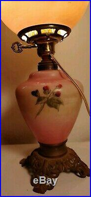 Antique Victorian Banquet Gone With the Wind Hurricane Lamp hand painted glass