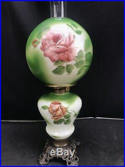 Antique Victorian Banquet Oil Lamp Hand Painted Roses GWTW Parlor