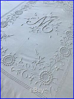 Antique Victorian Bedspread Raised Hand-embroidery, M Monogram, White Cotton