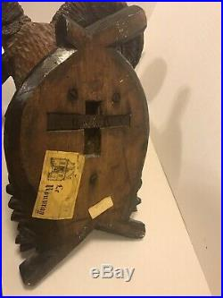 Antique Victorian Black Forest German Hand Carved Wood Ram Rams Head Mount