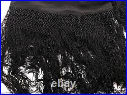 Antique Victorian Black Silk Hand Embroidered Piano Shawl Tassels Mourning Scarf