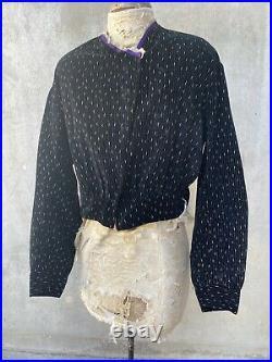 Antique Victorian Black Velvet Calico Hand Painted Blouse Bodice Lace Vintage