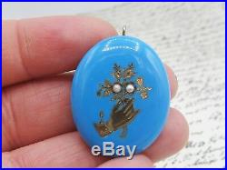 Antique Victorian Blue Enamel Hand Holding Flowers Seed Pearl Pendant 14k Gold