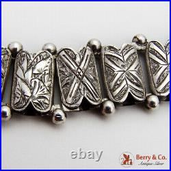 Antique Victorian Bookchain Necklace Hand Engraved Sterling Silver