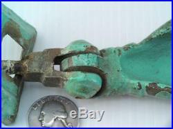 Antique Victorian Brass Blue Milk Paint Hand Door Knocker Complete