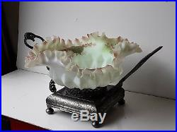 Antique Victorian Brides Basket With Fenton Hand Painted Glass