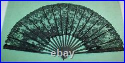 Antique Victorian Carved Black Celluloid French Lace Hand Fan in Large Box Frame