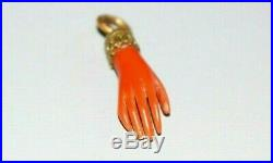 Antique Victorian Carved Coral Pendant In Form Of A Hand