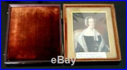 Antique Victorian Cased Hand Painted Portrait Miniature Of A Lady