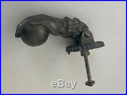 Antique Victorian Cast Iron Right Hand Holding a Ball Door Knocker