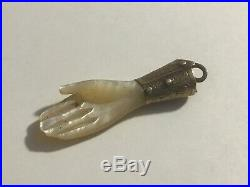 Antique Victorian Charm Mother Of Pearl Miniature Hand with Elaborate Wrist Band