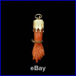 Antique Victorian Coral 18ct Gold Hand Figa Pendant Charm Hand Amulet C. 1880